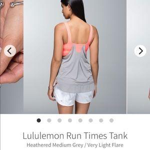 Lululemon Size 4 Run Times Tank EUC Medium Grey